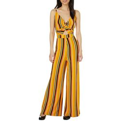 No Comment Juniors Striped Twisted Keyhole Jumpsuit