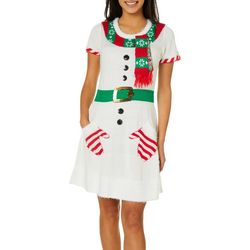 No Comment Juniors Embellished Snowman Faux Belted Dress
