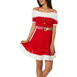 No Comment Juniors Embellished Holiday Faux Belted Dress