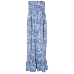 Juniors Tie Dye Smocked Maxi Dress