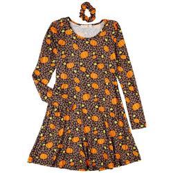 Juniors All-over Pumpkin 2-pc. Dress