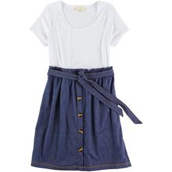 Juniors Denim Button Placket Short Sleeve Dress