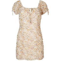 No Comment Juniors Floral Scrunched Dress