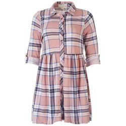 No Comment Juniors Plaid Shirt 3/4 Sleeve Dress