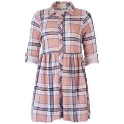 Juniors Plaid Shirt 3/4 Sleeve Dress