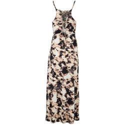 No Comment Womens Halter Tie-Dye Maxi Dress