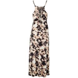 Womens Halter Tie-Dye Maxi Dress