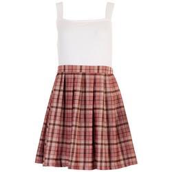 Juniors Tartan Pleated Dress