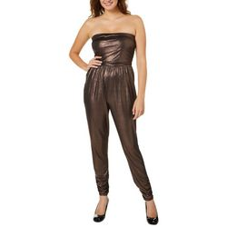 No Comment Juniors Metallic Strapless Jumpsuit