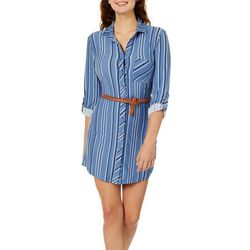 No Comment Juniors Belted Geo Dot Shirtdress