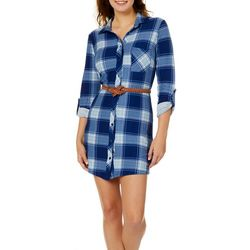 No Comment Juniors Belted Plaid Shirtdress