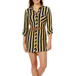 No Comment Juniors Belted Striped Shirtdress