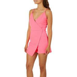 No Comment Juniors Solid Faux Wrap Romper