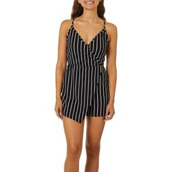 No Comment Juniors Striped Faux Wrap Romper