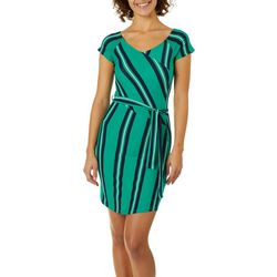 Derek Heart Juniors Block Striped Faux-Wrap Dress