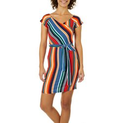 Derek Heart Juniors Rainbow Striped Faux-Wrap Dress