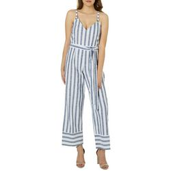 Derek Heart Juniors Belted Mixed Stripe Jumpsuit