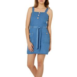 Derek Heart Juniors Belted Denim Dress