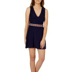 Derek Heart Juniors Faux-Wrap Mock Belt Sundress