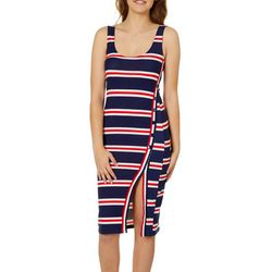 Derek Heart Juniors Striped Side Buttoned Midi Dress