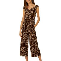 Derek Heart Juniors Belted Leopard Print Jumpsuit