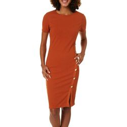 Derek Heart Juniors Solid Ribbed Button Detail Dress