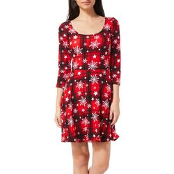 Derek Heart Juniors Plaid Snowflake Star Dress