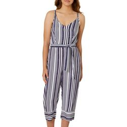 Derek Heart Juniors Belted Vertical Stripe Jumpsuit