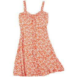 Juniors Floral Button Front Sleeveless Dress