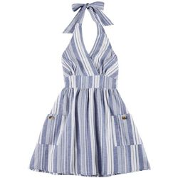 Derek Heart Juniors Stripe Halter Sleeveless Dress