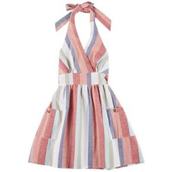 Juniors Stripe Halter Dress