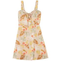 Juniors Strappy Tropical Print Dress