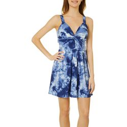 Derek Heart Juniors Blue Tie Dye Dress