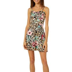 Derek Heart Juniors Floral Leopard Sleeveless Skater Dress