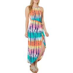 Derek Heart Juniors Stripes & Tie Dye Maxi Dress