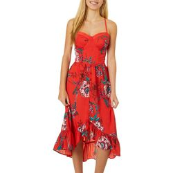 Juniors Tropical Floral Print Midi Dress