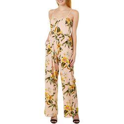 Juniors Tropical Floral Wide Leg Jumpsuit