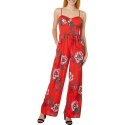 Juniors Tropical Floral Wide Leg Jumpsuit