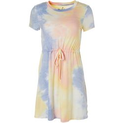 Wallflower Juniors Short Sleeve Tie Dye Dress