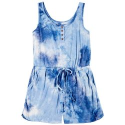 Wallflower Juniors Sleeveless Tie Dye Henley Romper