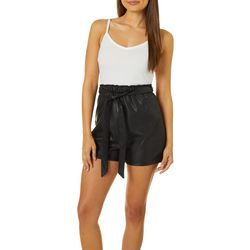 Almost Famous Juniors Solid Faux Leather Tie Waist Romper