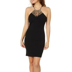 Almost Famous Juniors Embellished Caged Neck Sheath Dress