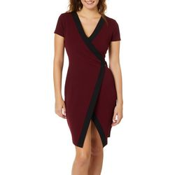 Almost Famous Juniors Colorblock Faux-Wrap Dress