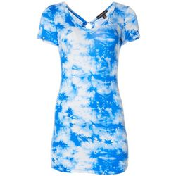 Almost Famous Juniors Tie Dye Ring Detail Short Sleeve Top