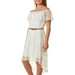 Juniors Belted Lace Dress