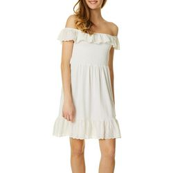 Almost Famous Juniors Eyelets White Dress