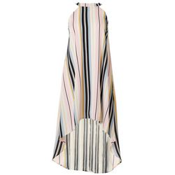 Almost Famous Juniors Striped High Neckline Maxi Dress