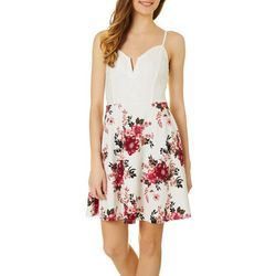 Almost Famous Juniors Floral Print Lace Bodice Dress