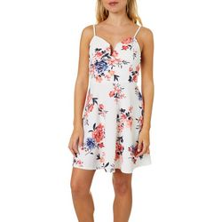 Almost Famous Juniors Cream Combo Floral Dress