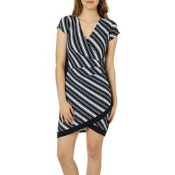 Almost Famous Juniors Striped Asymmetrical Faux-Wrap Dress